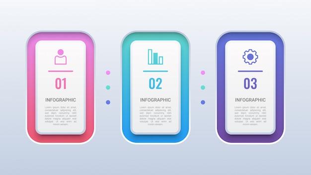Modello 3d colorato infografica 3 passaggi