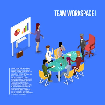 Modello 3d isometrico dell'area di lavoro dell'ufficio di conferenza