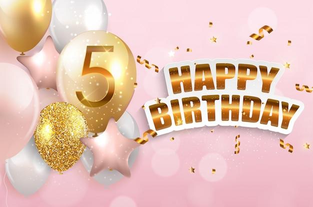 Modello 5 anni anniversario congratulazioni, cartolina d'auguri con palloncini invito