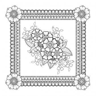 Modello a forma di mandala con fiore
