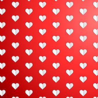 Modello a pois di san valentino con cuori di carta