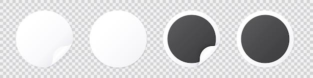 Modello adesivo rotondo con buccia d'angolo, cartellino del prezzo in bianco e nero o modello di etichetta promozionale isolato su trasparente. illustrazione di patch adesiva con angolo arricciato.