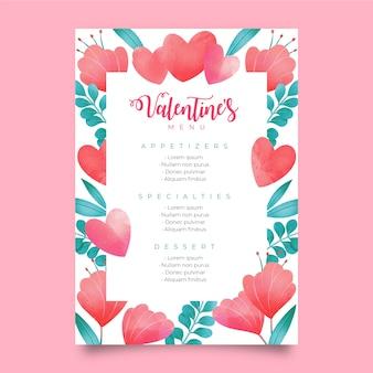 Modello adorabile del menu di san valentino dell'acquerello