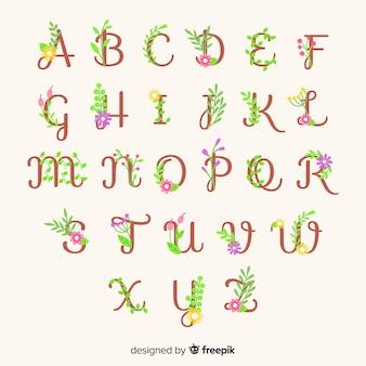 Modello alfabeto floreale