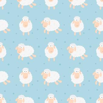 Modello animale divertente delle pecore di sogni dolci senza cuciture per tessuto, tessuto, carta, carta da parati, avvolgentesi