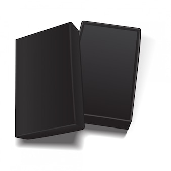 Modello aperto nero vuoto scatola di cartone rettangolare.