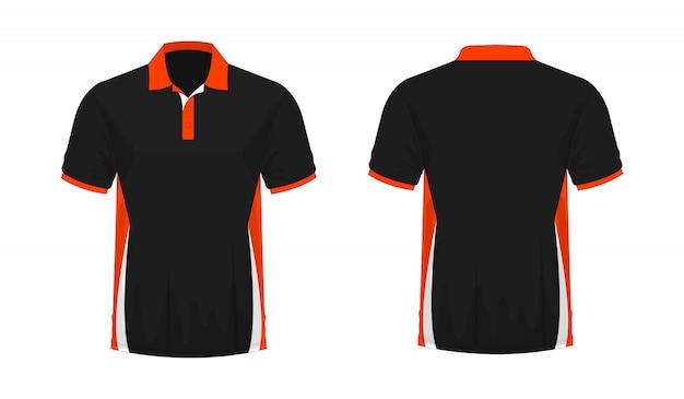 Modello arancione e nero di polo della maglietta per il disegno su priorità bassa bianca.