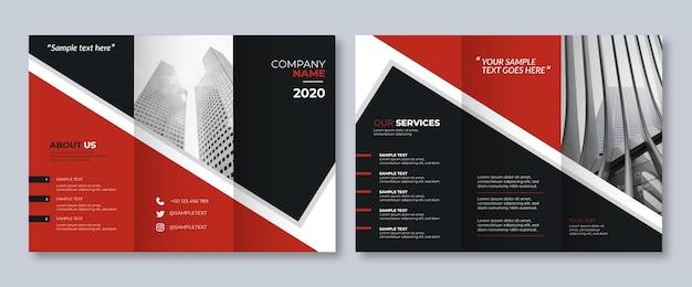 Modello astratto a tre ante brochure con fronte e retro