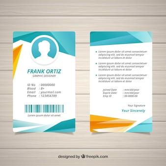 Modello astratto carta d'identità con stile geometrico