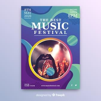 Modello astratto colorato poster di musica con foto