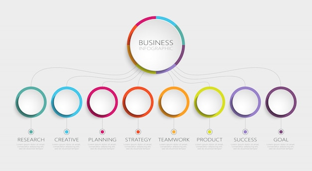 Modello astratto d infographic con passaggi per il successo