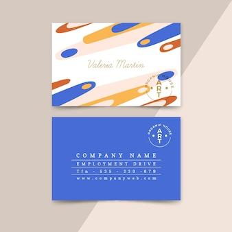 Modello astratto del biglietto da visita con macchie di colore pastello