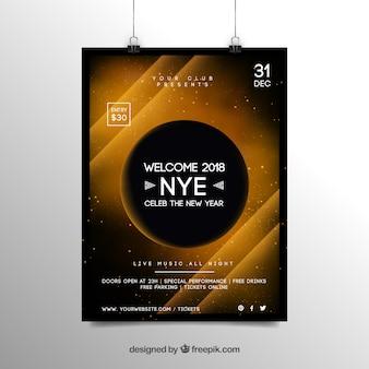 Modello astratto del manifesto dell'aletta di filatoio del partito del nuovo anno 2018 nel giallo