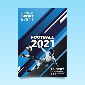 Modello astratto del manifesto di evento sportivo 2021 con la foto