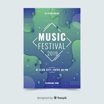 Modello astratto del manifesto di festival di musica di effetto liquido
