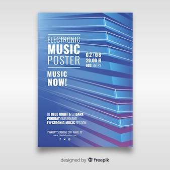 Modello astratto del manifesto di musica elettronica 3d