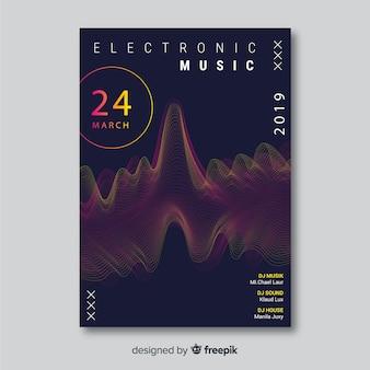 Modello astratto del manifesto di musica elettronica dell'onda