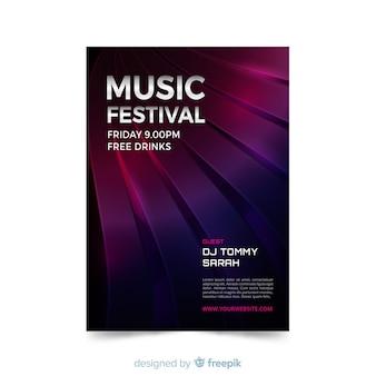 Modello astratto del manifesto di musica elettronica di effetto 3d