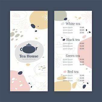 Modello astratto del menu della casa da tè