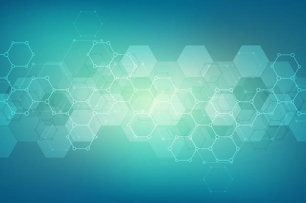 Modello astratto di esagoni per design moderno medico o scientifico e tecnologico. sfondo texture astratta con strutture molecolari e ingegneria chimica.