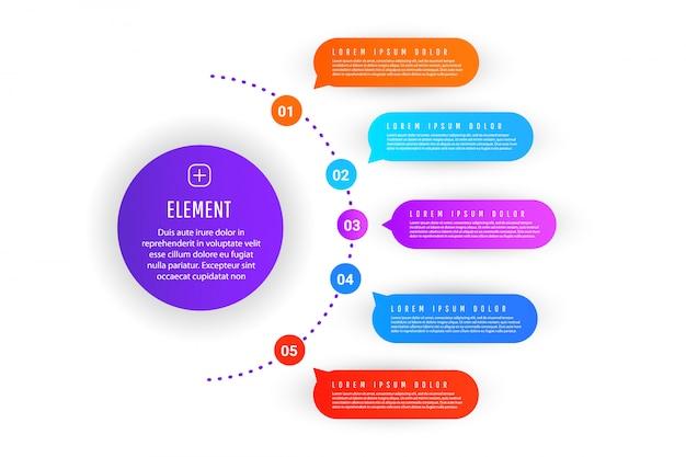 Modello astratto di infografica con forme sfumate con elementi, numerazione degli elementi
