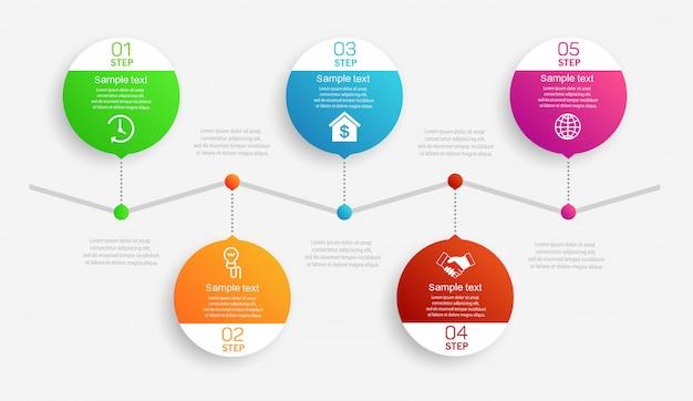 Modello astratto di infographics con 5 passaggi