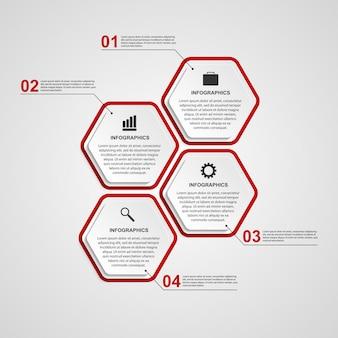 Modello astratto di infographics di esagono.