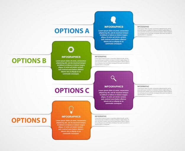 Modello astratto di infographics di opzioni commerciali.