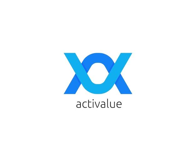Modello astratto di lettera av, au dell'icona di logo
