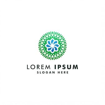 Modello astratto di logo del fiore, progettazione di lusso del fiorista di simbolo dell'ambiente, logotype dell'icona del giardino