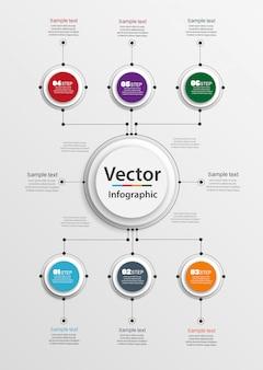 Modello astratto di opzioni di numero di infographics con 6 punti