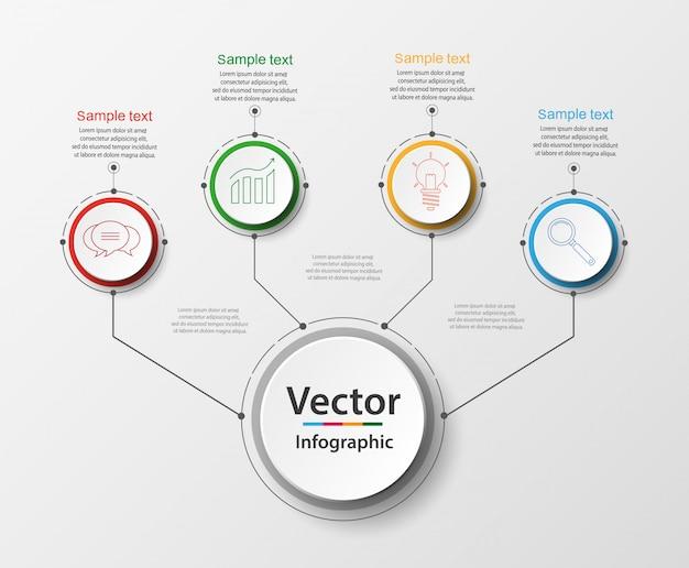 Modello astratto di opzioni di numero di infographics di quattro punti