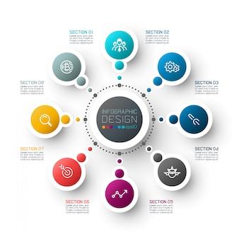 Modello astratto di opzioni di punto di infographics di affari