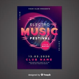 Modello astratto di poster di musica elettronica