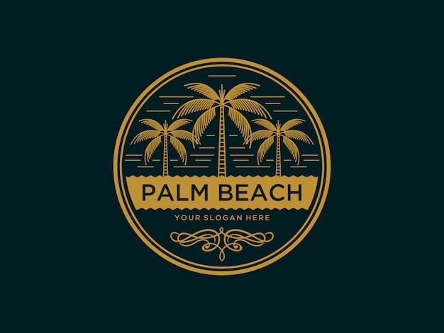 Modello astratto di progettazione di logo d'annata di palm beach
