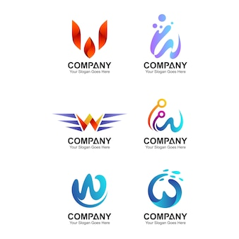 Modello astratto di progettazione di logo della lettera w, raccolta di identità della società, logo iniziale della lettera w