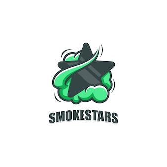 Modello astratto di progettazione di vettore dell'illustrazione del fumo e della stella