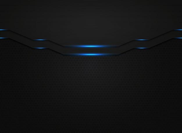 Modello astratto di tecnologia moderna nera con glitter di luce blu.