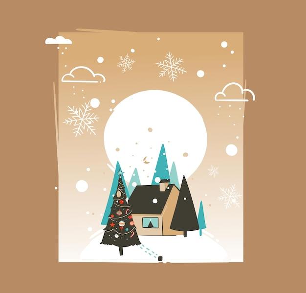 Modello astratto disegnato a mano della cartolina d'auguri delle illustrazioni del fumetto di tempo di buon natale e felice anno nuovo con paesaggio all'aperto, casa e nevicate isolate su fondo marrone.