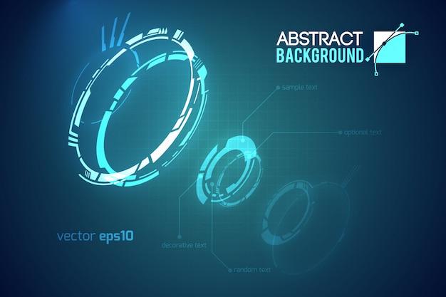 Modello astratto futuristico con innovative interfacce utente virtuali su illustrazione scura