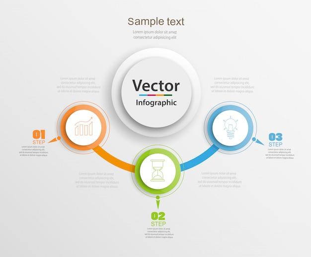 Modello astratto infografica con cerchi colorati e tre passaggi
