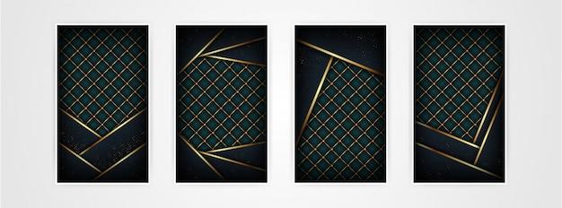 Modello astratto poligonale scuro di lusso con fondo oro