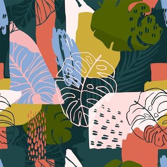 Modello astratto senza cuciture con piante tropicali