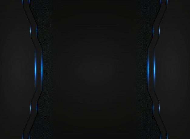 Modello astratto tecnologia nero con luce blu luccica sfondo.