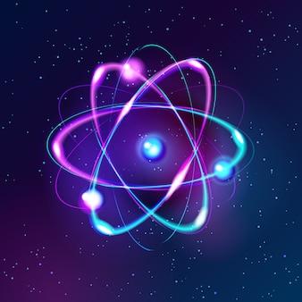 Modello atomico brillante delle luci al neon di vettore