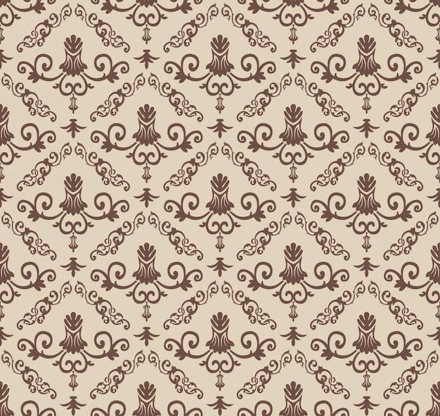 Modello barocco marrone vintage senza soluzione di continuità