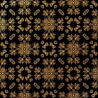 Modello batik di lusso in oro senza cuciture, batik indonesiano è una tecnica di tintura resistente alla cera applicata a tutto il tessuto
