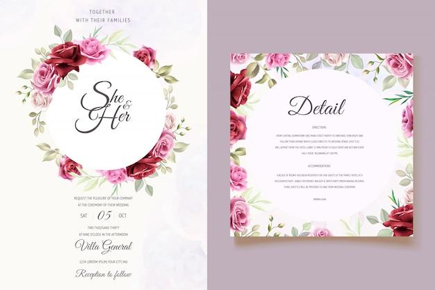 Modello bellissimo biglietto di nozze floreale