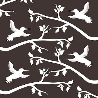 Modello bianco della decorazione dell'albero degli uccelli e dei rami della siluetta