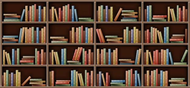 Modello bianco dello scaffale per libri, libri sullo scaffale in biblioteca